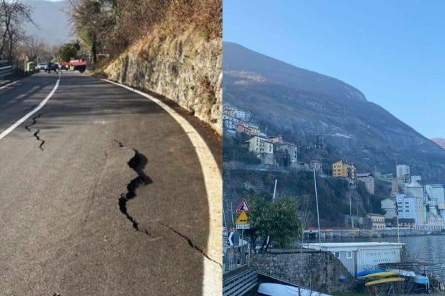 A destra: la crepa sul monte. A sinistra: la montagna