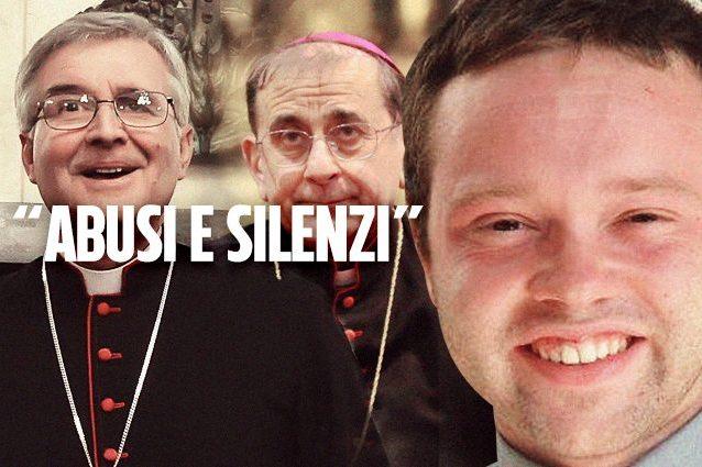 Da sinistra il vescovo di Brescia Tremolada, l'arcivescovo di Milano Delpini e l'accusato don Galli.