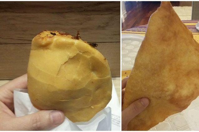 Un panzerotto di Luini (a sinistra) a confronto con uno pugliese (foto Fanpage.it)