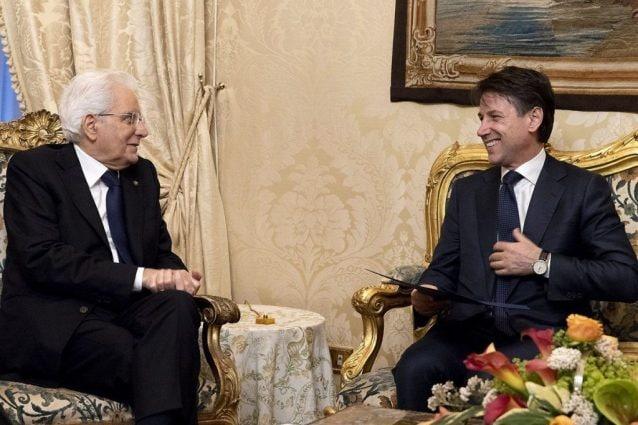 Il Capo dello Stato Mattarella e il presidente del Consiglio incaricato Giuseppe Conte