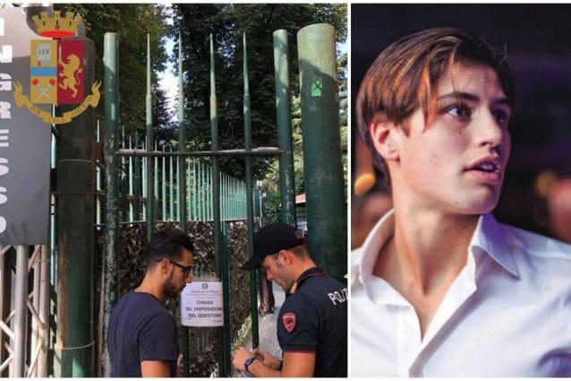 I cancelli serrati dell'Old Fashion: la discoteca all'esterno della quale è stato accoltellato Niccolò Bettarini (a destra) ha riaperto la scorsa settimana