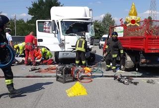 Incidente tra un camion e un furgoncino a Caravaggio: muore un uomo di 42 anni