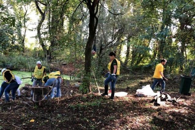 I dipendenti di Heineken Italia e i volontari di Legambiente al lavoro per ripulire il parco di Rogoredo