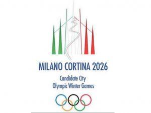Il logo della candidatura di Milano–Cortina per le Olimpiadi invernali 2026