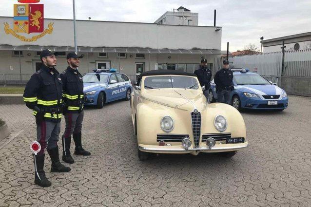 L'Alfa Romeo rubata e ritrovata (Polizia di Stato)