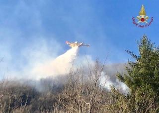 Incendio a Tignale, in fiamme i boschi sulla sponda bresciana del lago di Garda