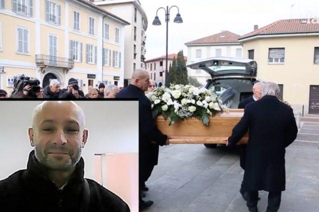 I funerali di Eugenio Fumagalli (nel riquadro), il tassista eroe