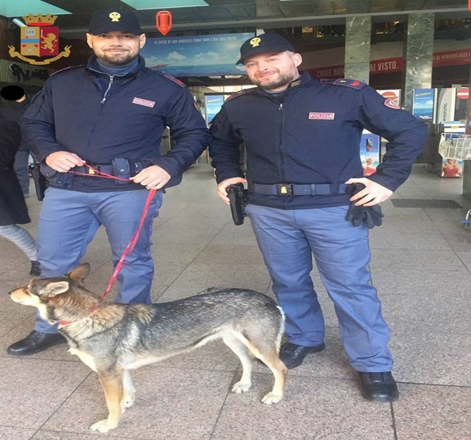 """I due agenti della Polfer e """"Bambolotta"""", la cagnolina salvata"""