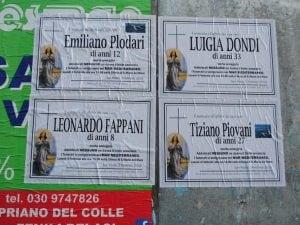 Annunci funebri apparsi a San Paolo (Foto dal Giornale di Brescia)