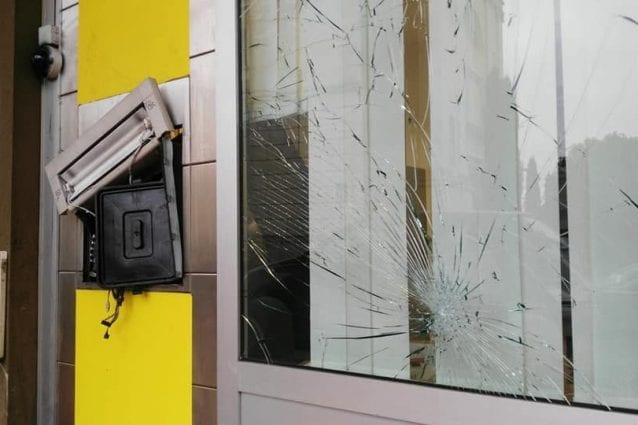 Il bancomat di Poste Italiane fatto esplodere a Solbiate Arno (Varese)