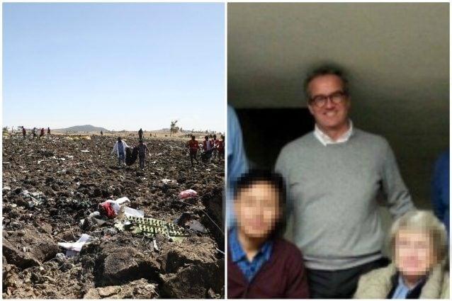 A sinistra i resti del Boeing 767 precipitato in Etiopia e a destra Matteo Ravasio, deceduto nello schianto
