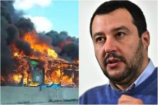 """San Donato Milanese, bus di studenti incendiato da autista, Salvini: """"Capire perché guidava il bus"""""""