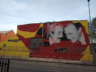 Un maxi murale per Giovanni Falcone e Paolo Borsellino su una scuola: inaugurato a Settimo Milanese