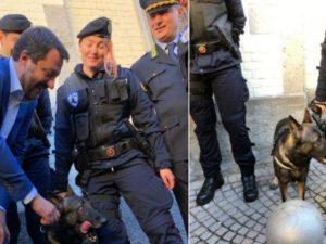 Matteo Salvini col cane Narco (Fonte: Twitter)