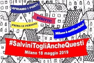 """""""Togli anche questi"""": a Milano gli striscioni per il comizio di Matteo Salvini con i sovranisti"""
