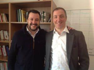 Matteo Salvini e Paolo Orrigoni nel marzo 2016, quando Orrigoni era candidato sindaco per la Lega a Varese.