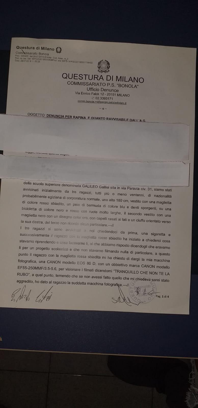 La denuncia presentata ai Carabinieri di Bonola