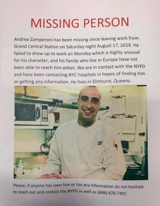 Lo chef Andrea Zamperoni trovato morto a New York