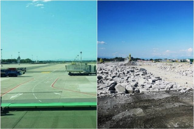 La pista di Linate prima e dopo la demolizione