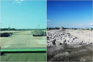 Proseguono i lavori all'aeroporto di Linate: demolita la pista. Le immagini dello scalo prima e dopo