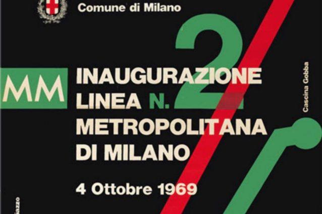 Particolare di una locandina pubblicitaria per l'inaugurazione della linea 2 della metro di Milano (dal sito Atm)