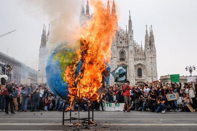 Un'immagine emblematica dell'ultimo sciopero globale di Fridays for Future