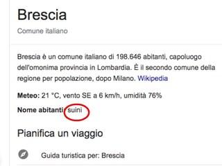 Gli abitanti di Brescia? Per Wikipedia si chiamano suini