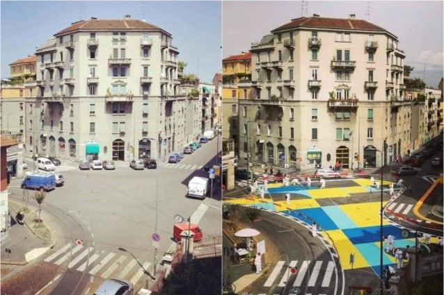 La nuova piazza prima e durante i lavori di riqualificazione