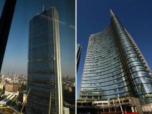 La Torre Allianz (a sinistra) e la Torre Unicredit, che dominano lo skyline di Milano (Foto dagli archivi LaPresse e Getty images)