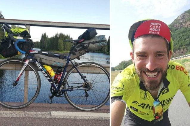 Matteo Brocchieri e la bici che gli è stata rubata (Facebook)
