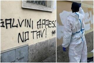 Bergamo, scritta contro Salvini sul muro di una chiesa: la cancellano i giovani richiedenti asilo
