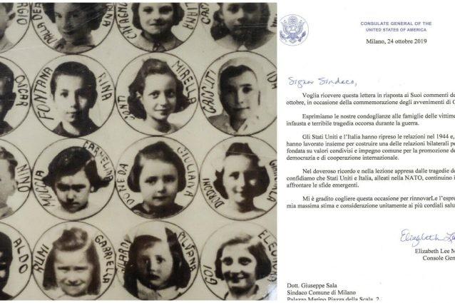 I volti e i nomi di alcune delle piccole vittime della strage di Gorla. A destra la lettera di cordoglio del consolato Usa.