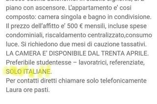 """Milano, la signora dell'annuncio razzista non si pente: """"Niente affitto alle straniere"""""""