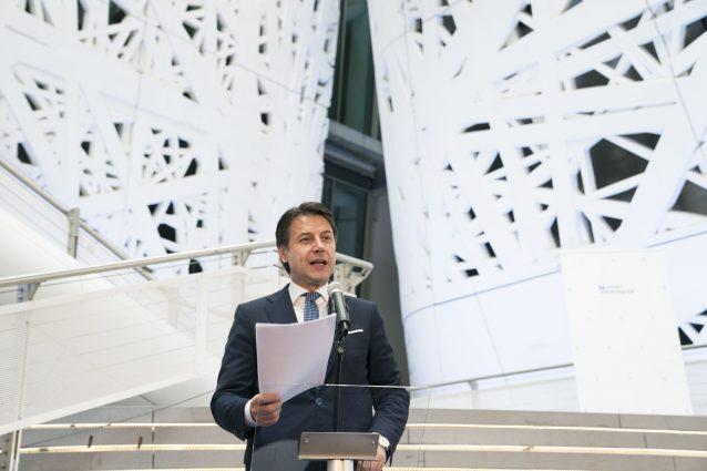 Giuseppe Conte a Palazzo Italia per l'inaugurazione dello Human Technopole (LaPresse/Palazzo Chigi/Filippo Attili)