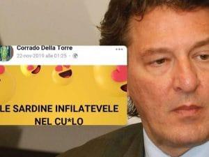 Corrado Della Torre e uno dei post contro il movimento delle Sardine