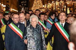 """Milano, Liliana Segre alla piazza: """"Parliamo d'amore, l'odio lasciamolo ad anonimi da tastiera"""""""