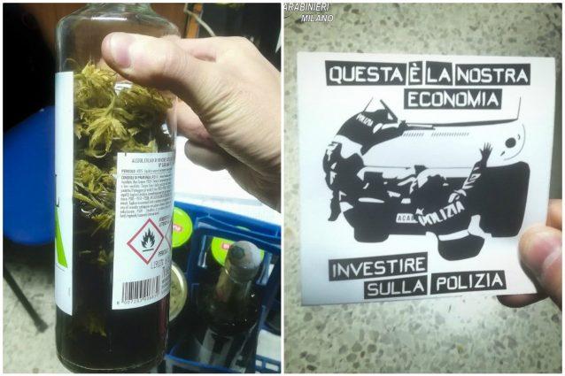 Collage: a sinistra un contenitore contenente infuso di marijuana, a destra gli adesivi contro le forze dell'ordine