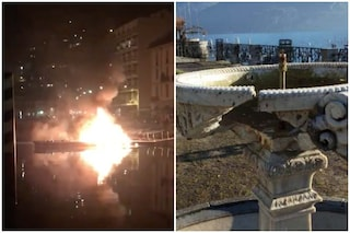 Botti di Capodanno, a fuoco un molo sul lago di Como: fontana distrutta dai petardi a Menaggio