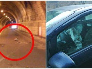 I calcinacci caduti e la macchina incidentata (foto Facebook Pietro Orrù)