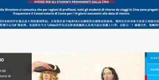 """Coronavirus, conservatorio di Como agli studenti cinesi: """"Se tornate da capodanno, restate a casa"""""""