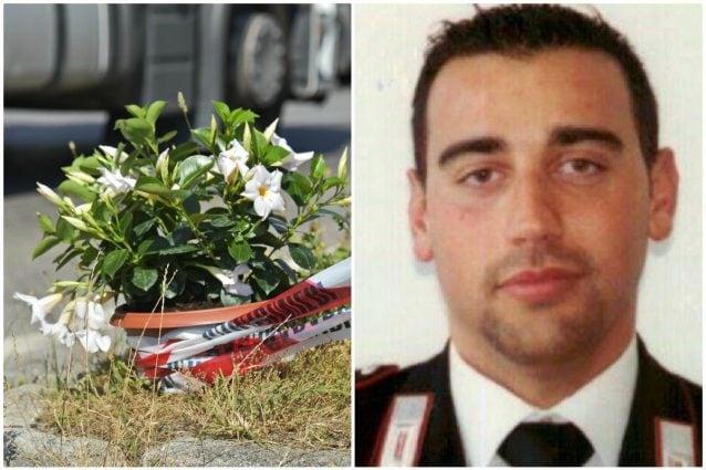 Il carabiniere Emanuele Anzini, 41 anni, e il luogo dove è avvenuto l'incidente mortale a Terno d'Isola (Bergamo)
