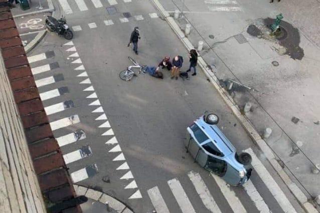 L'incidente avvenuto a Milano in via Montevideo (Foto Facebook – Incidenti Stradali a Milano)