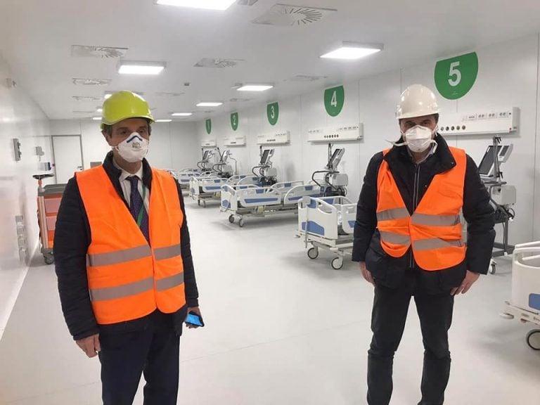 Il governatore Fontana all'ospedale Fiera Milano