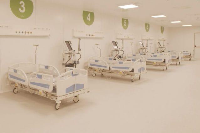 Uno degli ambienti dell'ospedale alla Fiera di Milano