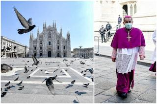 Piazza Duomo deserta e messa con le mascherine: a Milano una domenica delle Palme mai vista