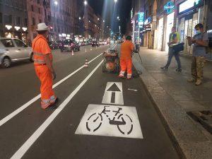 I lavori per la ciclabile in corso Buenos Aires