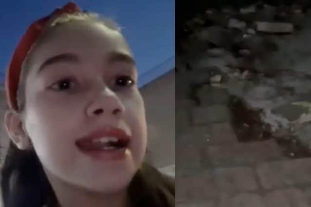 Elena e il marciapiedi distrutto che blocca la carrozzella