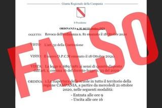 Covid Campania, riaperte le scuole: ma l'ordinanza è falsa
