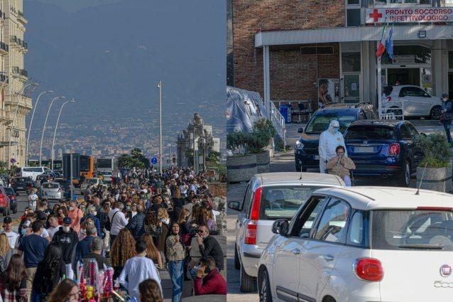 Le due facce di Napoli oggi: folla al Lungomare e file al Cotugno con i medici costretti a curare i pazienti nelle auto.