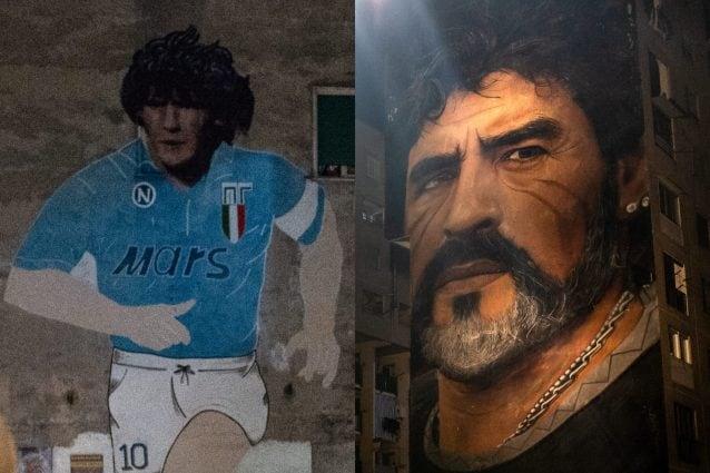 I murales di Maradona più noti: ai Quartieri Spagnoli (sinistra) e nel quartiere di San Giovanni a Teduccio (destra).